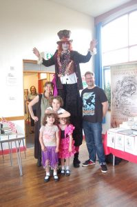The end of the story trail with myself, John the stilt walker, Jonathan Green and the mini Muggeridge's!