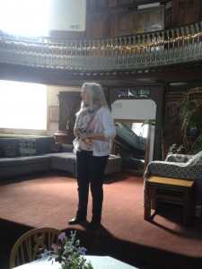 Sue Searle on the Oak Room stage