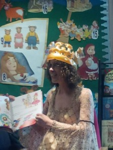 Amy Sparkes reads on the story trail