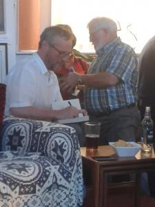 Michael Jecks signs books