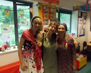 With Story Trail helpers Loreley Amiti and Debbie Jones